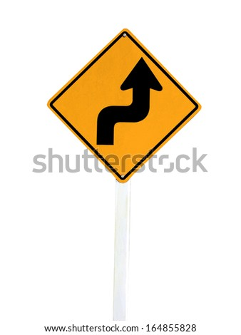 Right Sharp turn traffic road sign isolated on white background. - stock photo