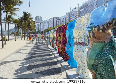 "RIO DE JANEIRO, BRAZIL - June 9, 2014: ""United Buddy Bears"" promote tolerance among people of different culture - Exhibition at Leme Beach - Rio de Janeiro"