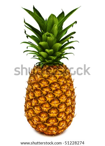 ripe and tasty pineapple over the white background