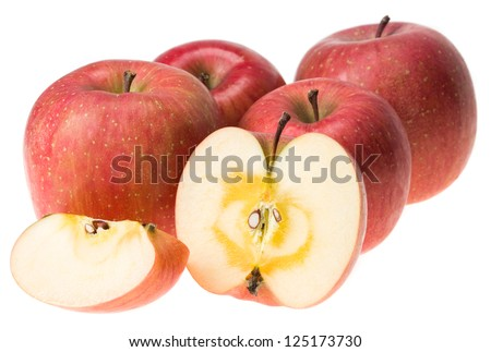 Ripe Japanese San-Fuji apples with naturally sugared core - stock photo