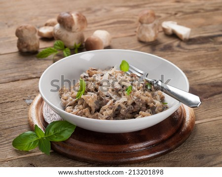 Risotto with wild mushrooms and parmesan, selective focus - stock photo