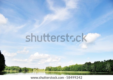 river and sky with cloud. summer  landscape - stock photo