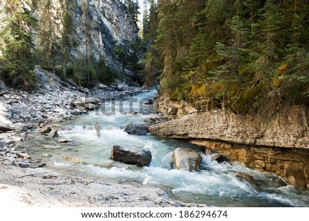 River flow in Johnston canyon, Banff national park, Canada