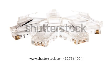 7 RJ-45 connectors for twisted pair - stock photo