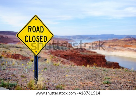 'Road Closed' Sign in USA  - stock photo
