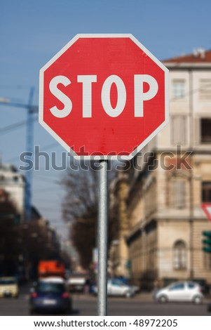 Road sign Stop, oh shallow  dof  background - stock photo