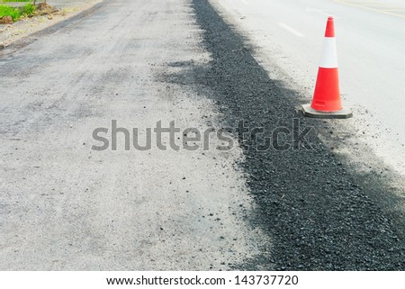 road surface repairing works - stock photo