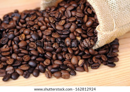 roasted coffee  on burlap