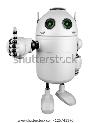 Robot giving thumbs up.  Isolated on white