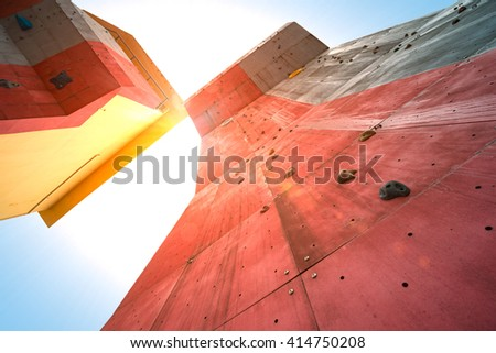 rock climbing walls - stock photo