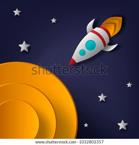 rocket, space, planets, stars, cut from paper, 3d Used for posters posters postcards banners backgrounds