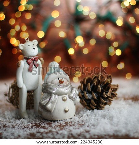 rocking horse, and teddy bear on christmas background - stock photo