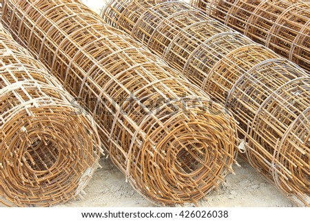 roll of  wire Rusting wire mesh structure - stock photo