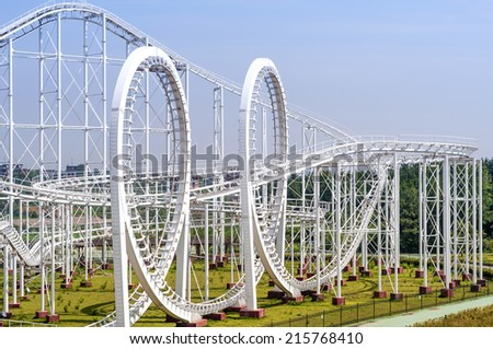 roller coaster's loop - stock photo