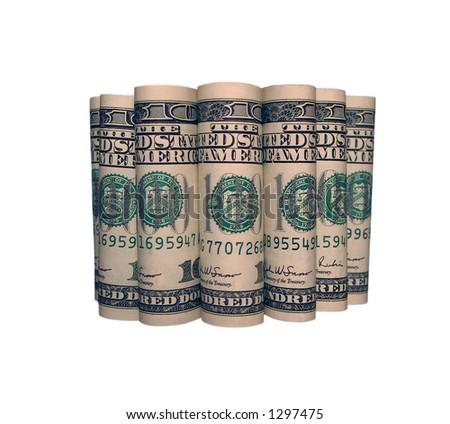 7 rolls of 100 dollar notes - stock photo