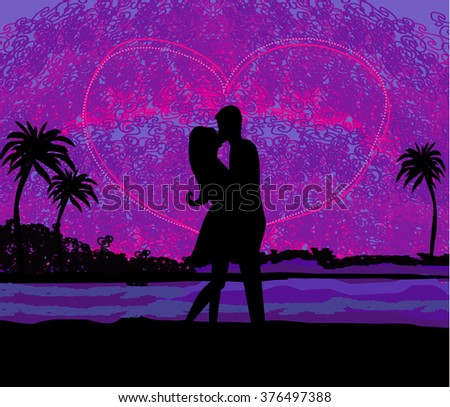 Romantic couple about to kiss on beach at sunset  - stock photo