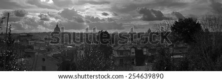 Rome. City landscape. places of Interest. Attractions. black and white photo