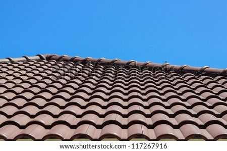 Roof tile landscape view against blue sky