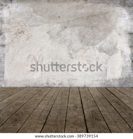 room interior with white plaster and brown wooden floor