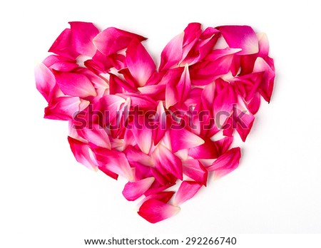 Rose heart on a table white background