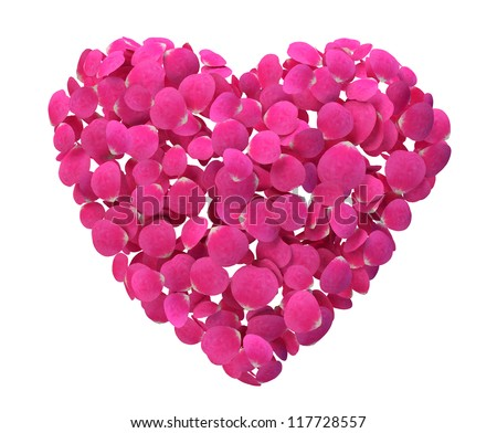 Rose Petal Heart isolated on white