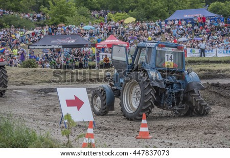 Rostov-on-Don, Russia- June 05,2016: Tractor with a damaged wheel on the Bizon Track Show