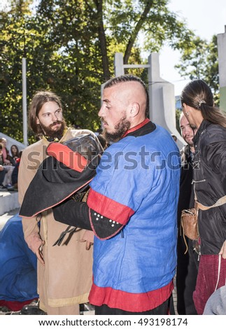 Rostov-on-Don, Russia- October 01,2016: Fight knights in the arena of the park W. Cherevichkin.Knight wears armor