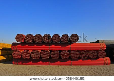 Round steel tube - stock photo