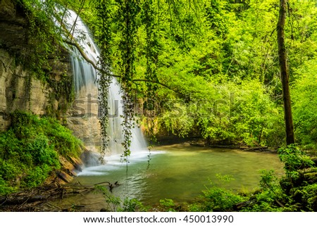 """Roure"" waterfall in the province of Garrotxa, Catalonia, Spain."