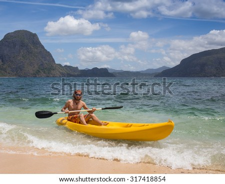 rowing in kayak