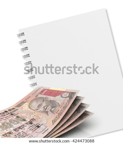 1000 Rs Indian currency and note book on white background. 3d rendering - stock photo