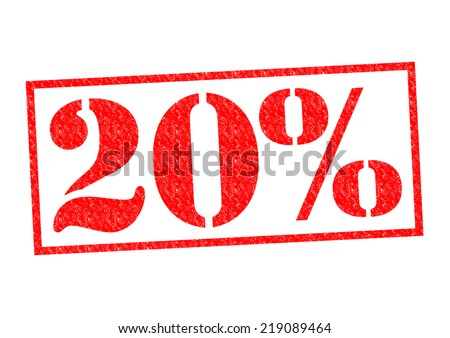 20% Rubber Stamp over a white background. - stock photo