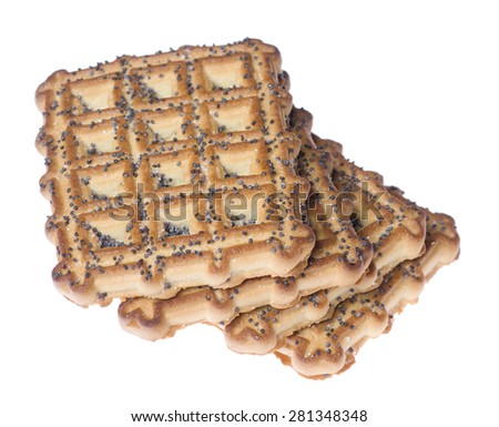 ruddy tasty cookies isolated on white background - stock photo
