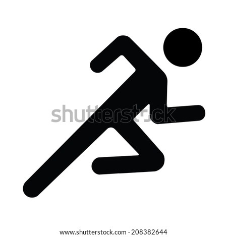 Running man icon white black silhouette - stock photo