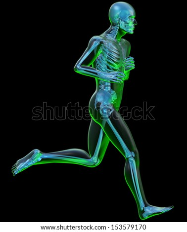 Running man seen on x-ray. Side view of a running man seen on x-ray