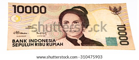 10000 rupiah bank note. Rupiah is the national currency of Indonesia