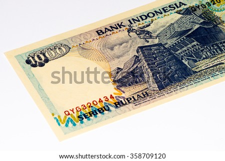 1000 rupiah bank note. Rupiah is the national currency of Indonesia