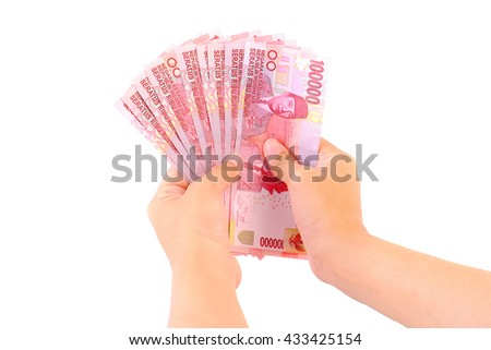 100000 rupiah note on white background. - stock photo
