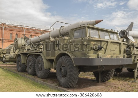 "RUSSIA SAINT-PETERSBURG - JULY 8-Quad 23-mm self-propelled anti-aircraft gun ZSU-23-4 ""Shilka"" (1962). Weight, kg: installation-19000 in military history museum on July 8; 2015 in St. Petersburg"