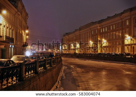 28/ 01/ 2017 Russia, St. Petersburg, Moika River Embankment, Pevchesky Most.