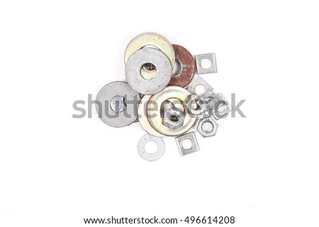 rust metal screw and new nuts isolated on white background