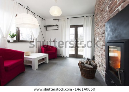 rustic living room - stock photo