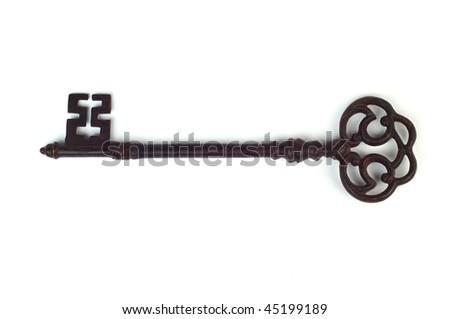 Rusty key. Isolated over white background - stock photo
