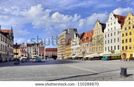 Rynek (Market Square) in Wroclaw (Breslau), Poland with old historic tenements - stock photo
