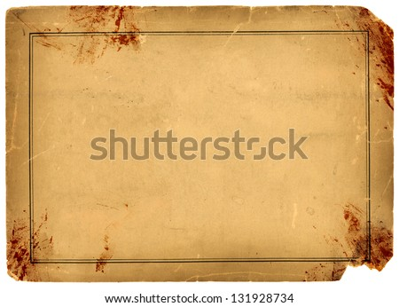 1800s Antique Blood Stained Paper Background Texture - stock photo