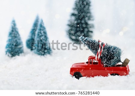 1950's antique vintage red truck hauling a Christmas tree home through a snowy winter wonder land. Extreme shallow depth of field with selective focus on vehicle.