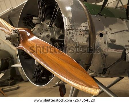 1930s Avro Tutor biplane propeller at the Shuttleworth Collection,Bedfordshire,UK.taken 14/07/2013 - stock photo