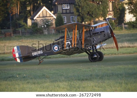 1920's Bristol Fighter combat biplane aircraft at a Shuttleworth Collection air display at Old Warden airfield, Bedfordshire ,UK. taken 26/09/2008 - stock photo