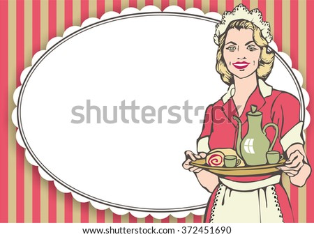 50's diner waitress. fast food concept - stock photo
