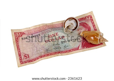 1960s east caribbean currency and two seashells - stock photo